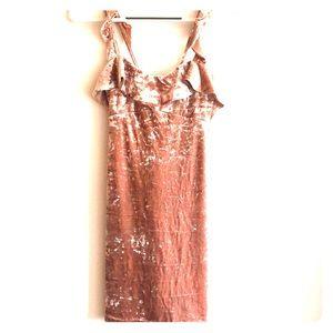 Pink Crushed Velvet Mini Dress
